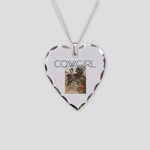 TEE Old School Cowgirl Necklace Heart Charm