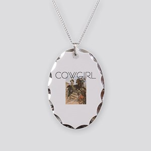 TEE Old School Cowgirl Necklace Oval Charm