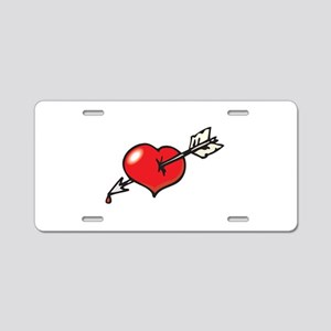 Arrow Through Heart Design Aluminum License Plate