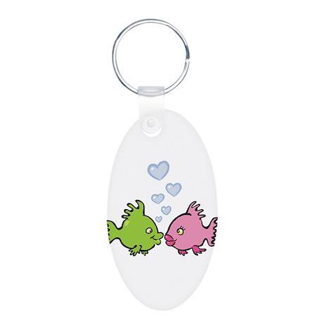 Kissy Love Fish Valentine Aluminum Oval Keychain