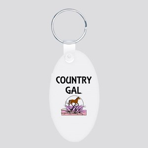 Country Gal Aluminum Oval Keychain