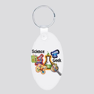 Science Geek Aluminum Oval Keychain