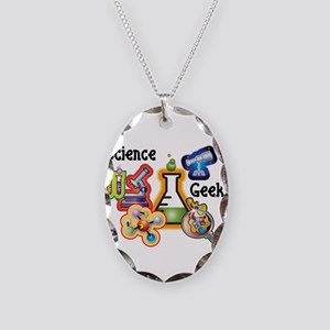 Science Geek Necklace Oval Charm