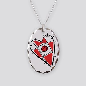 Cute Pin Cushion Patchwork He Necklace Oval Charm