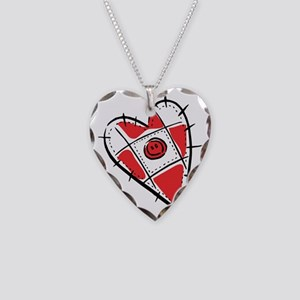 Cute Pin Cushion Patchwork He Necklace Heart Charm