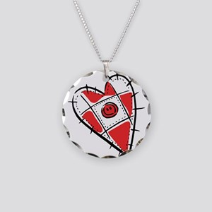 Cute Pin Cushion Patchwork He Necklace Circle Char