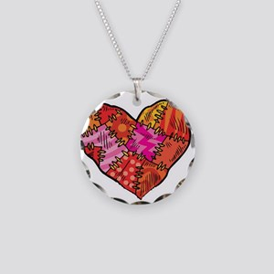 Patchwork Heart Design Necklace Circle Charm