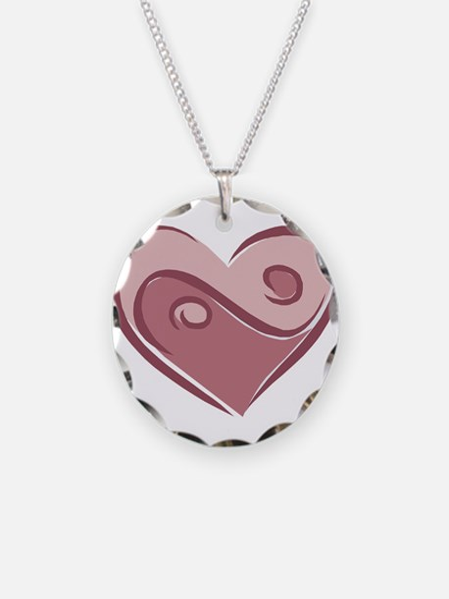 Ying Yang Heart Design Necklace Circle Charm