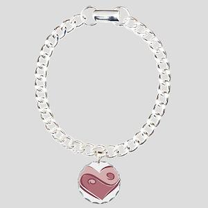 Ying Yang Heart Design Charm Bracelet, One Charm