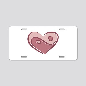 Ying Yang Heart Design Aluminum License Plate