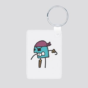 Stick Figure Pirate Aluminum Photo Keychain