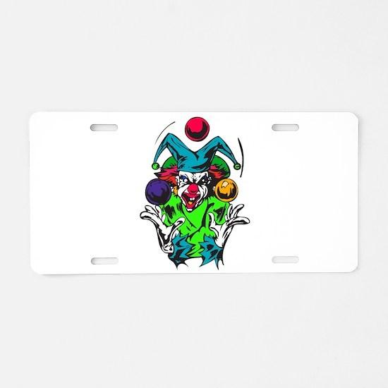 Evil Juggling Jester Clown Aluminum License Plate