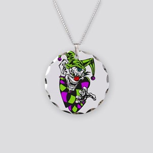 Clawing Evil Jester Clown Necklace Circle Charm