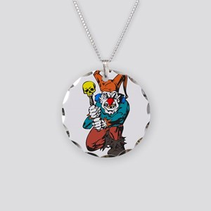 Evil Clown with Skull Club Necklace Circle Charm
