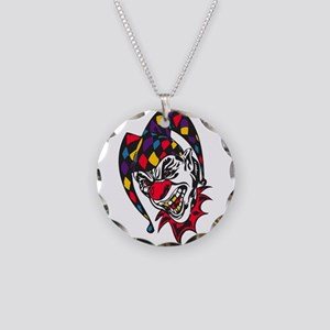 Mad Evil Jester Clown Necklace Circle Charm