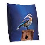 Bluebird (Female) Burlap Throw Pillow