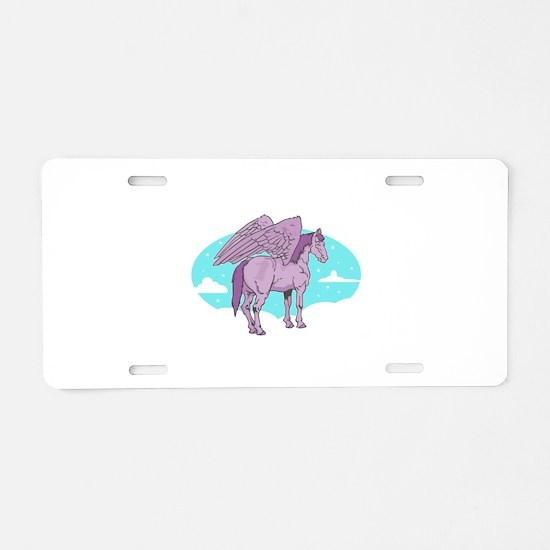 Purple Pegasus Aluminum License Plate