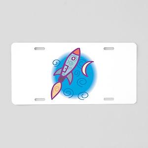 Rocket Ship Aluminum License Plate