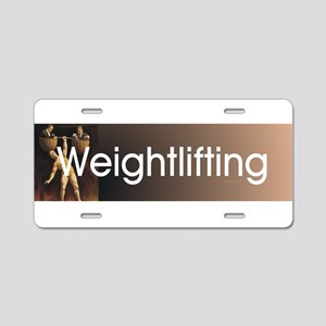 Weightlifting Old School Aluminum License Plate