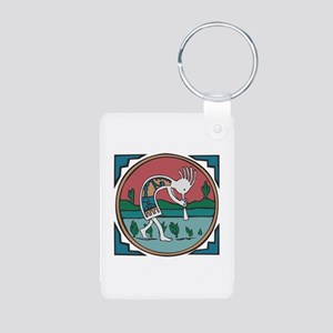 Colorful Kokopelli Aluminum Photo Keychain