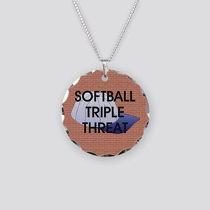TOP Softball Triple Threat Necklace Circle Charm