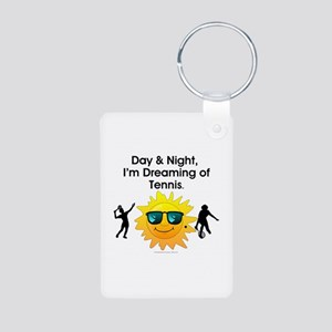 Dreaming of Tennis Aluminum Photo Keychain