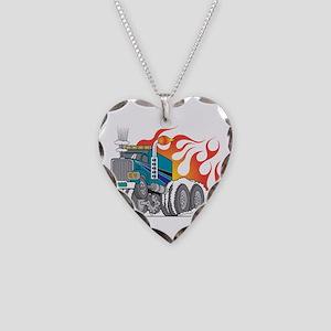 Hot Rod (Flames) 18 Wheeler T Necklace Heart Charm
