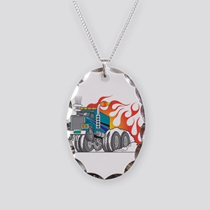 Hot Rod (Flames) 18 Wheeler T Necklace Oval Charm