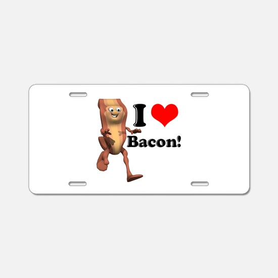 I Heart (Love) Bacon Aluminum License Plate