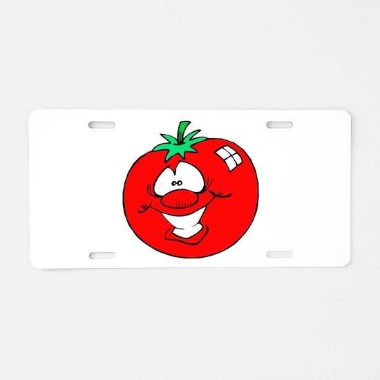 Happy Tomato Face Aluminum License Plate