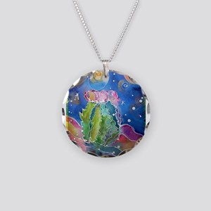 Cactus, colorful, Necklace Circle Charm