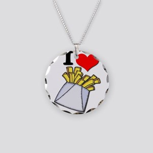 I Heart (love) French Fries Necklace Circle Charm