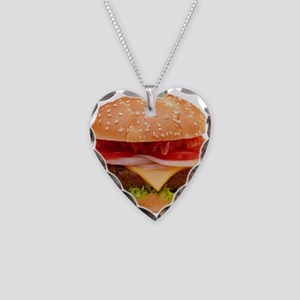 yummy cheeseburger photo Necklace Heart Charm