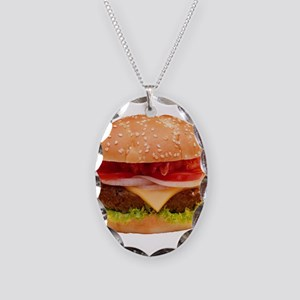 yummy cheeseburger photo Necklace Oval Charm