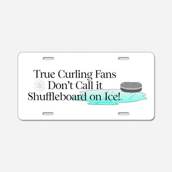Curling Slogan Aluminum License Plate