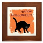 Halloween Black Cat Framed Tile