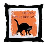 Halloween Black Cat Throw Pillow