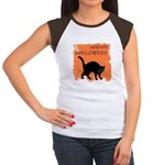 Halloween Black Cat Women's Cap Sleeve T-Shirt