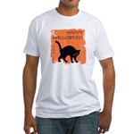 Halloween Black Cat Fitted T-Shirt
