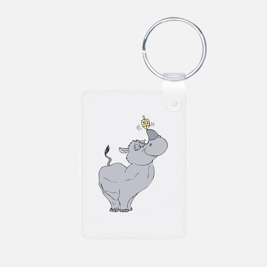 Rhino with Dreidel Keychains