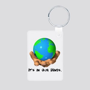 Earth In Our Hands Aluminum Photo Keychain