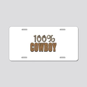 100% Cowboy Aluminum License Plate