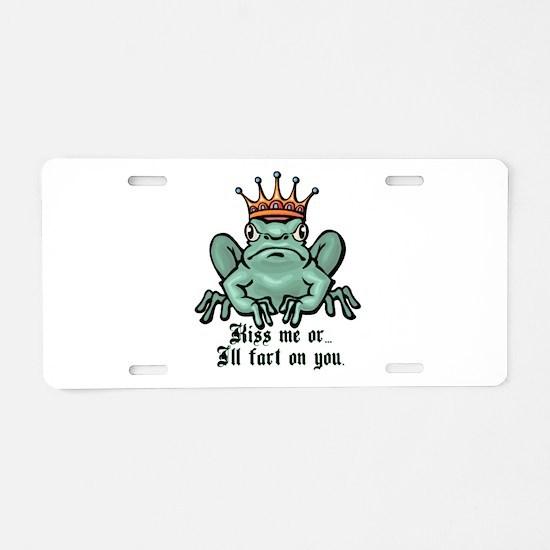 Kiss Me or I'll Fart Frog Aluminum License Plate