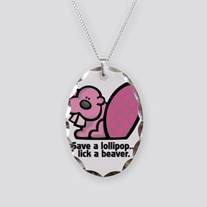 Lick a Beaver Necklace Oval Charm