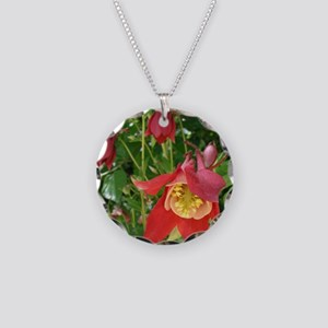 Columbine Flowers Necklace Circle Charm