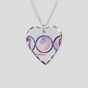 Triple Moon Goddess Necklace Heart Charm