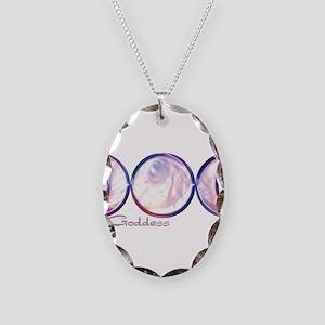 Triple Moon Goddess Necklace Oval Charm