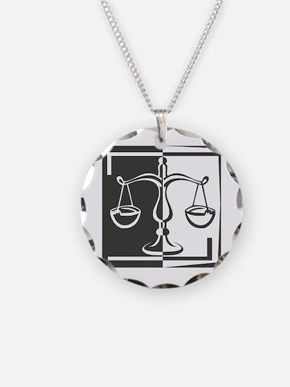 Black & White Libra Scale Necklace