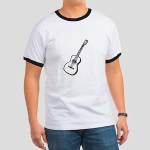 Black Woodcut Guitar Ringer T