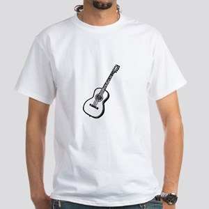 Black Woodcut Guitar White T-Shirt